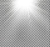Esplosione leggera d'ardore bianca di scoppio su fondo trasparente Decorazione di effetto della luce dell'illustrazione di vettor Immagine Stock
