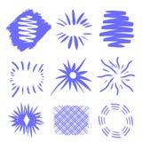 Esplosione solare, sole di scoppio della stella Irradiandosi dal centro dei fasci sottili, linee Illustrazione di vettore element illustrazione vettoriale