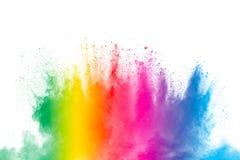 Esplosione variopinta della polvere su fondo bianco Spruzzata astratta di particelle di polvere di colore pastello fotografie stock