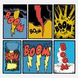 Esplosioni d'annata del libro di fumetti Immagini Stock Libere da Diritti