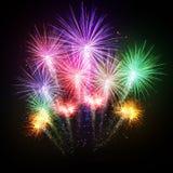 Esplosioni dei fuochi d'artificio su fondo nero Immagine Stock Libera da Diritti