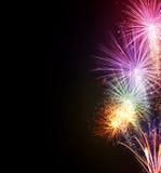 Esplosioni dei fuochi d'artificio su fondo nero Fotografia Stock Libera da Diritti