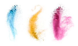 Esplosioni di polvere colorata su fondo bianco Fotografia Stock Libera da Diritti