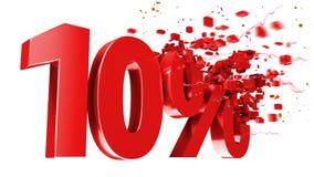 Esplosivo 10 per cento fuori su priorità bassa bianca Immagine Stock
