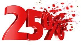 Esplosivo 25 per cento fuori su priorità bassa bianca Immagini Stock