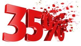 Esplosivo 35 per cento fuori su priorità bassa bianca Fotografia Stock Libera da Diritti