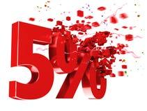 Esplosivo 5 per cento fuori su priorità bassa bianca Fotografia Stock Libera da Diritti