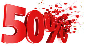 Esplosivo 50 per cento fuori su priorità bassa bianca Fotografia Stock