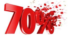 Esplosivo 70 per cento fuori su priorità bassa bianca Immagine Stock Libera da Diritti
