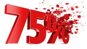 Esplosivo 75 per cento fuori su priorità bassa bianca Immagini Stock