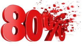 Esplosivo 80 per cento fuori su priorità bassa bianca Immagini Stock