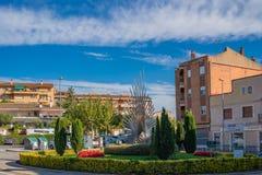 Espluga de Francoli village with the Sculpure at the Casal house Tarragona province, Catalonia