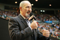 ESPN analyst Brad Gilbert comments Australian Open 2016 semifinal match at Rod Laver Arena Royalty Free Stock Photo