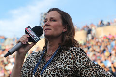 ESPN analyst Pam Shriver comments tennis match at US Open 2016. NEW YORK - SEPTEMBER 5, 2016: ESPN analyst Pam Shriver comments tennis match at US Open 2016 at Royalty Free Stock Photos