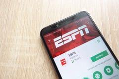 ESPN app na google play store stronie internetowej wystawiającej na Huawei Y6 2018 smartphone obraz royalty free