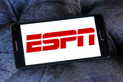 Espn logo. Logo of sports television network espn on samsung mobile royalty free stock images
