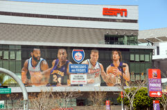 ESPN at the Staples Center. ESPN advertisement at the Staples Center, inviting to watch the NBA Lakers and Clippers games on Wednesday and Friday Royalty Free Stock Images
