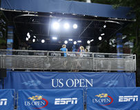 ESPN-TV-sändningstation på USTA Billie Jean King National Tennis Center under US Open 2013 Royaltyfri Fotografi