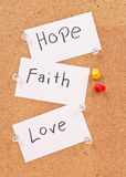 Espoir, foi et amour Photos stock
