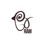 Espolón estilizado, oveja, plantilla gráfica del logotipo del esquema del cordero stock de ilustración