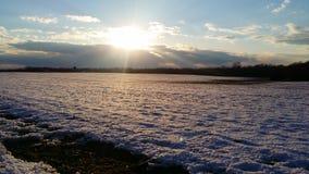 Esponendo al sole sopra la neve Fotografia Stock Libera da Diritti