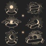 Esponga al sole e moon nel cielo con i nastri per il vostro testo Immagine Stock Libera da Diritti