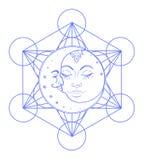 Esponga al sole i simboli della luna come fronte dentro la mandala variopinta decorata rotondo illustrazione vettoriale