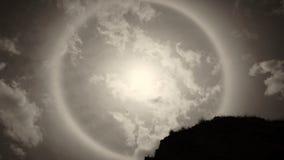Esponga al sole il bianco di alone alcuni rami di albero e della roccia Fotografia Stock Libera da Diritti