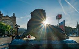 Esponga al sole il leone dal monumento di Columbus a Barcellona Fotografie Stock