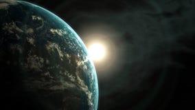 Esponga al sole l'aumento dietro la terra veduta da spazio, l'animazione 3d stock footage