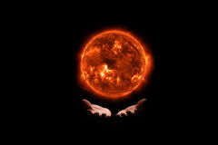 Esponga al sole l'idea di concetto di energia di energia solare nel fondo isolato Immagine Stock Libera da Diritti