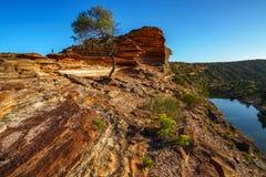 Esponga al sole sopra la traccia del ciclo della finestra delle nature, il parco nazionale di kalbarri, l'Australia occidentale 3 fotografia stock libera da diritti