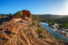 Esponga al sole sopra la traccia del ciclo della finestra delle nature, il parco nazionale di kalbarri, l'Australia occidentale 8 fotografia stock