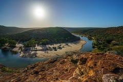 Esponga al sole sopra la traccia del ciclo della finestra delle nature, il parco nazionale di kalbarri, l'Australia occidentale 6 immagini stock