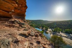 Esponga al sole sopra la traccia del ciclo della finestra delle nature, il parco nazionale di kalbarri, l'Australia occidentale 7 fotografia stock libera da diritti