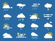 Esponga all'aria l'insieme dell'icona Simboli di Meteo Immagini di vettore nello stile piano illustrazione vettoriale