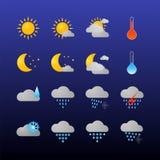Esponga all'aria le icone impostate Simboli piani di vettore su fondo scuro illustrazione vettoriale