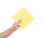 Esponja amarilla de la limpieza Fotos de archivo libres de regalías