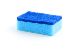 Esponja azul aislada en blanco Imagen de archivo libre de regalías