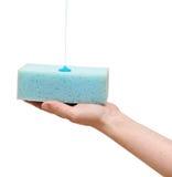 Esponja de la explotación agrícola de la mano con el jabón líquido Foto de archivo libre de regalías