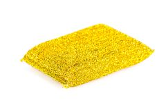 Esponja de limpeza amarela Imagens de Stock Royalty Free