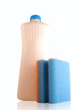 Esponja e frasco Foto de Stock