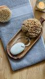 Esponja, objeto del footcare y cepillo naturales para el bodycare minimalista foto de archivo libre de regalías