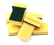 Esponjas amarillas y verdes Foto de archivo libre de regalías
