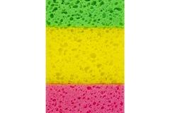 Esponjas coloridas coloridas em um fundo branco Fotos de Stock