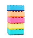 Esponjas coloridas isoladas no branco Fotografia de Stock