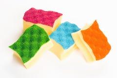 Esponjas coloridas para limpar Fotografia de Stock Royalty Free