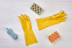 Esponjas da cozinha e luvas de borracha Imagem de Stock Royalty Free