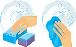 Esponjas e pano da limpeza na mão fêmea ilustração do vetor