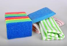 Esponjas e toalhas Imagem de Stock